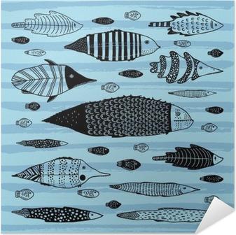 Selvklebende plakat Sett med morsomme fisk