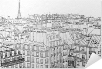 Selvklebende plakat Tak i Paris