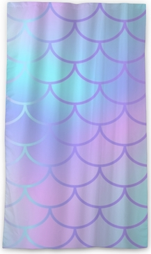 Cool Blue Fish Scale Pattern Vector Texture Mermaid Seamless Tile Sheer Window Curtain