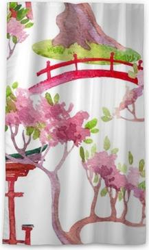 Japanese seamless pattern Sheer Window Curtain