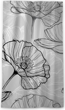 Monochrome seamless pattern with poppies. Hand-drawn floral background Sheer Window Curtain