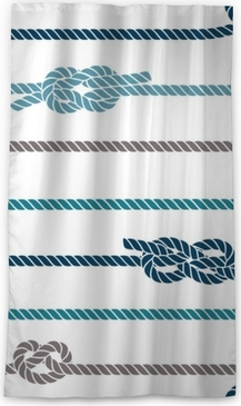 Seamless marine pattern, knots and rope Sheer Window Curtain