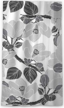 Seamless pattern with blossoming branches of apple tree. Sheer Window Curtain