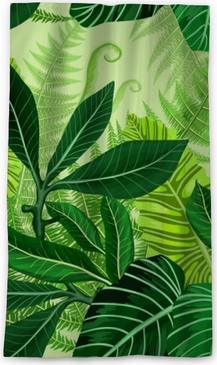 Seamless pattern with tropical palm leaves Sheer Window Curtain