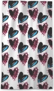 Seamless rock and roll, punk hearts, valentine wallpaper pattern. Angst teenage love wallpaper pattern background. Sheer Window Curtain