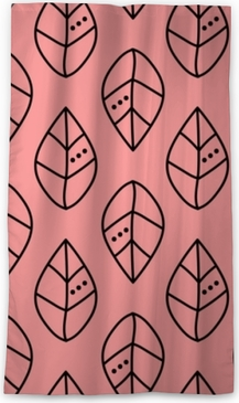 Seamless vector outline leaves pattern on pink backdrop. Design for wallpaper, fabric, textile, wrapping. Simple background Sheer Window Curtain