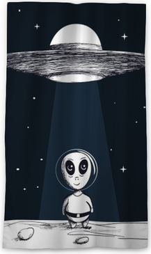 The arrival of an alien from UFO Sheer Window Curtain