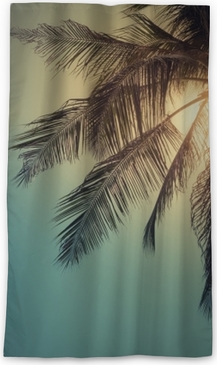 Top of palm tree with sun behind Sheer Window Curtain