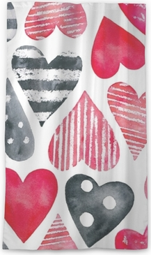 Watercolor hearts seamless pattern. Red, pink, rose colours, polka dots, striped. Love symbol, beautiful, lovely, romantic, holiday decoration. Hand drawn illustration, isolated, white background. Sheer Window Curtain