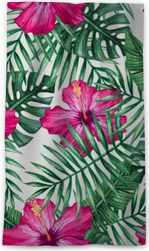 Watercolor orchid flower and palm leaves seamless pattern. Vector illustration. Sheer Window Curtain