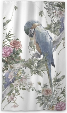 Watercolor painting with birds and flowers, seamless pattern on white background Sheer Window Curtain