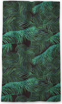 Watercolor palm leaves saemless pattern on dark background. Sheer Window Curtain
