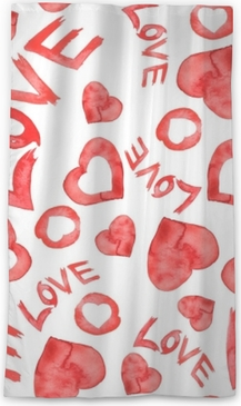 "Watercolor seamless pattern with a pattern of red, white heart. On white isolated background. The inscription ""love"". Art illustration for your design. Sheer Window Curtain"