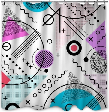1980s inspired memphis pattern background Shower Curtain