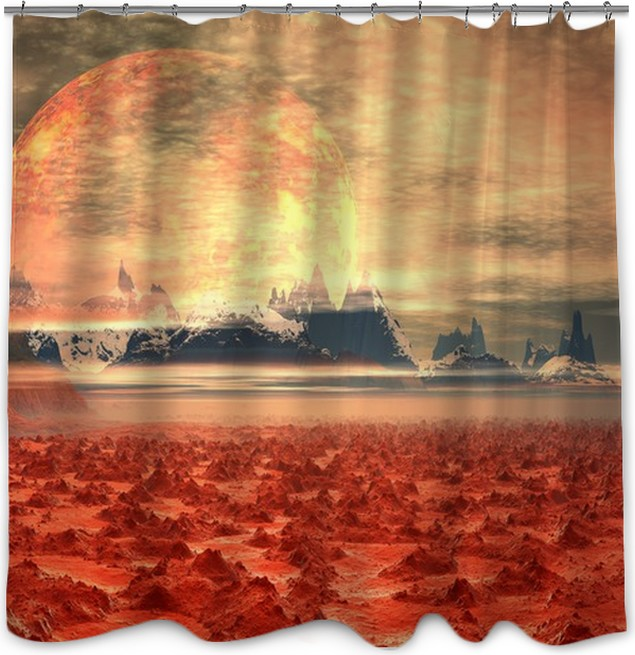 3D Rendered Fantasy Landscape On An Alien Planet Shower Curtain
