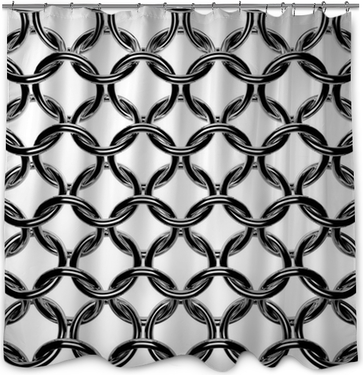 Abstract Chain Mail Grid Texture Armor Steel Rings Shower Curtain