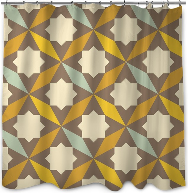 Abstract Retro Geometric Pattern Shower Curtain