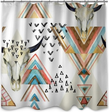 Abstract Watercolor Animal Skull And Geometric Ornament Seamless Pattern Shower Curtain