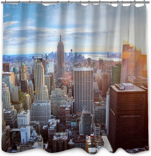 Aerial View Of Manhattan Skyline At Sunset New York City Shower Curtain