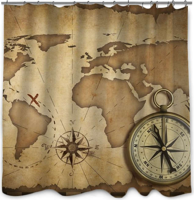 aged brass antique nautical compass and old map with track on it ...