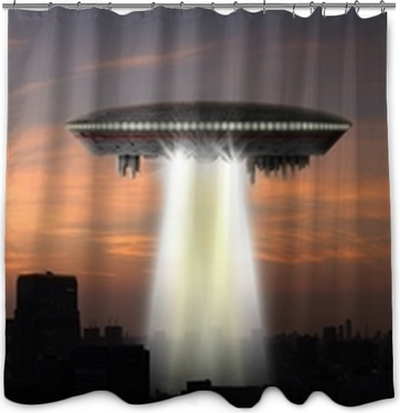 Alien Landed To Moon From Ufo Shower Curtain O PixersR O We Live To
