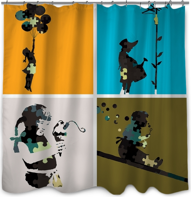 Banksy Shower Curtain O PixersR We Live To Change