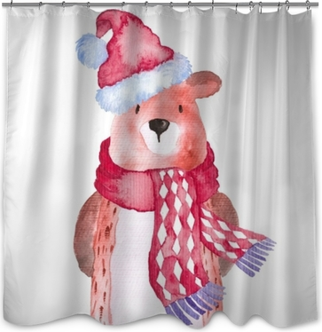 Bear Christmas Animals Winter watercolor Hand-painted illustration cute animal holidays Seasonal Isolated hat scarf Shower Curtain