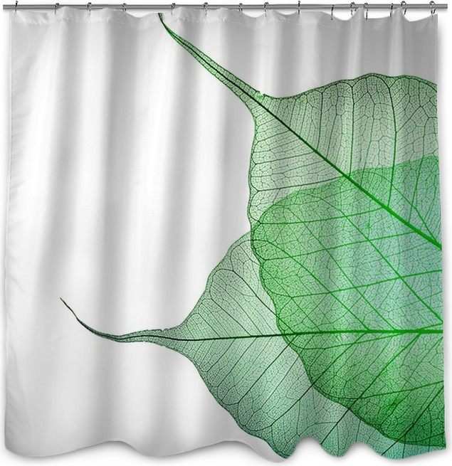 Beautiful Green Leaves border over white Shower Curtain • Pixers ...