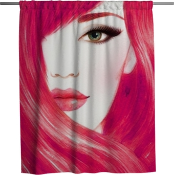 Beautiful woman face. Long healthy hair. Abstract fashion watercolor illustration Shower Curtain