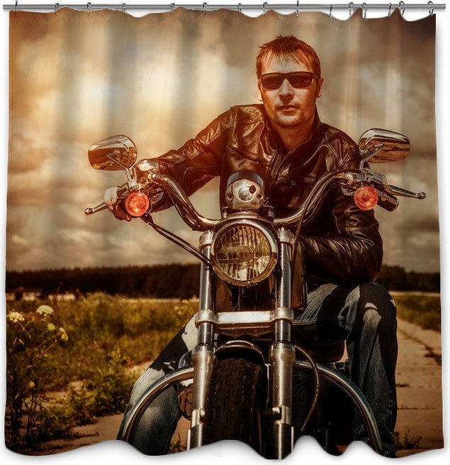 Biker On A Motorcycle Shower Curtain