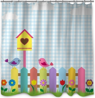 Birds And Birdhouse Shower Curtain