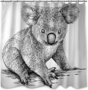 black and white engrave isolated Koala illustration Shower Curtain