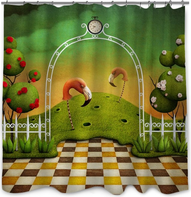 Bright green background with Arch, roses and flamingos Shower ...