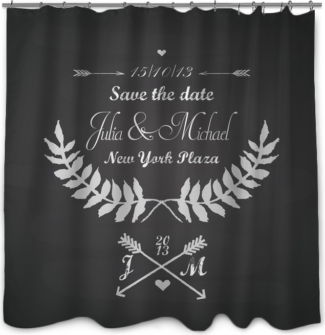 Chalkboard Wedding Template With Laurels Arrows And Hearts Shower Curtain