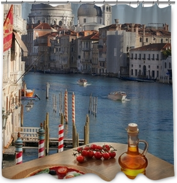 Classic Italian Pizza In Venice Against Canal Italy Shower Curtain