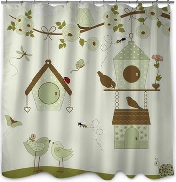 Cute Birds With Birdhouse Shower Curtain