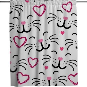 Cute cat face seamless pattern VECTOR Shower Curtain