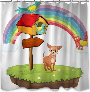 Dog And Birdhouse Shower Curtain