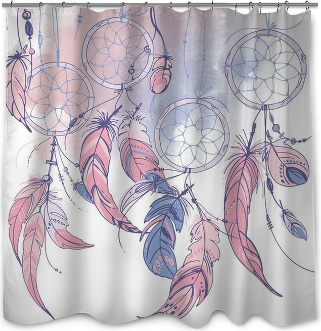 Native American Indian Dream Catcher Traditional Symbol Feathers And Beads On White Background Color Rose Quartz Serenity Shower Curtain