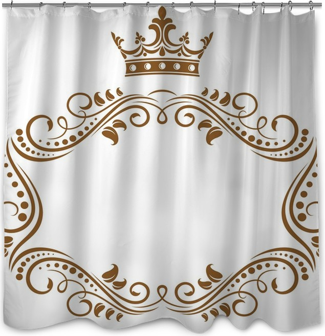 Elegant royal frame with crown Shower Curtain • Pixers® • We live to ...