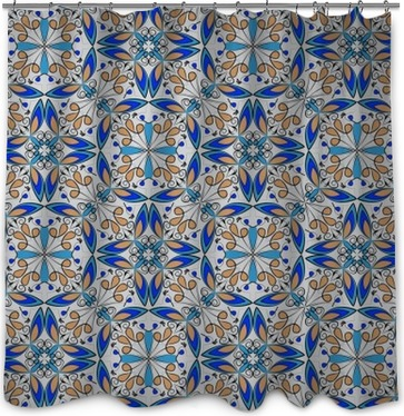 Fine Oriental Colorful Carpet Or Ceramic Ornament In Orange And Blue Colors With White Curves On Shower Curtain
