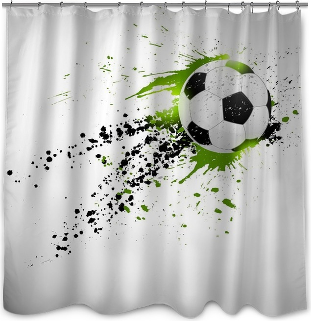 Flying Soccer Ball Shower Curtain