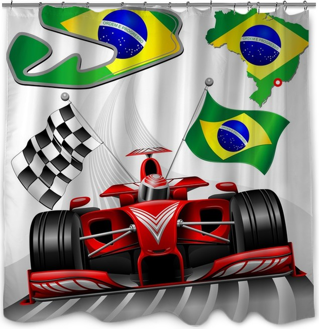 Formula 1 Red Race Car GP Brazil Shower Curtain