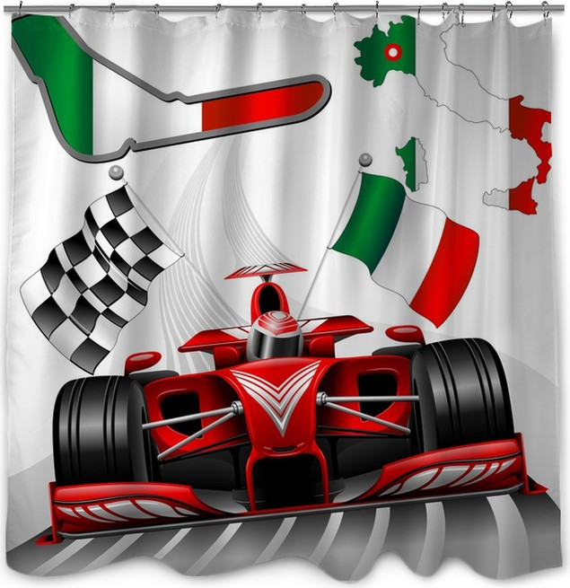 Formula 1 Red Race Car GP Monza Italy Shower Curtain