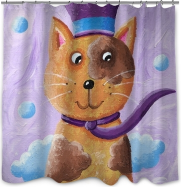 Funny Cat Wearing Top Hat Shower Curtain