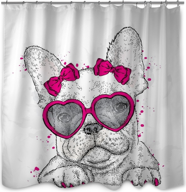 Funny Dog With Glasses Heart Vector Illustration Valentines Day Shower Curtain