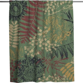 grunge flowers and leaves Shower Curtain
