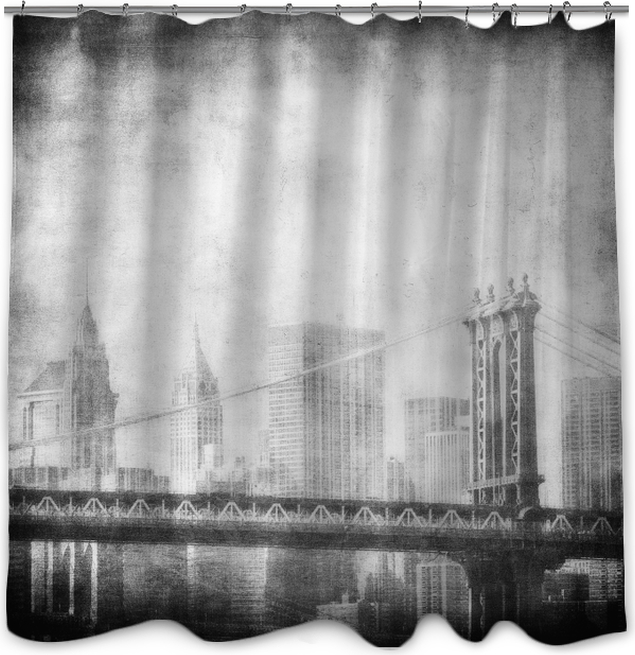 Grunge Image Of Manhattan Bridge And New York Skyline Shower Curtain