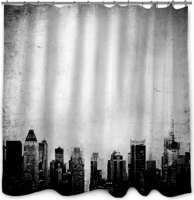 Grunge Image Of New York Skyline Shower Curtain