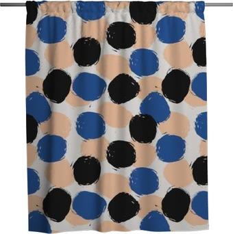 Hand Drawn Circles Seamless Pattern Shower Curtain